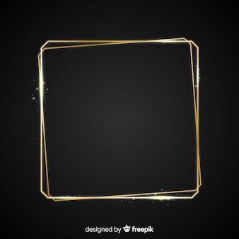 Квадрат реалистичной золотой раме