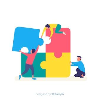 Люди, соединяющие кусочки пазла красочный фон