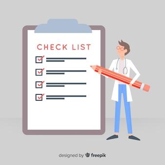 医師の巨大なチェックリストの背景をチェック