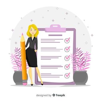 金髪の女性が巨大なチェックリストの背景をチェック