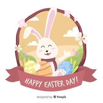イースターの日の背景を振って笑顔のウサギ