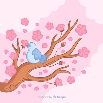 手描き桜の枝の背景