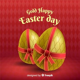 弓イースターの日の背景を持つ黄金の卵