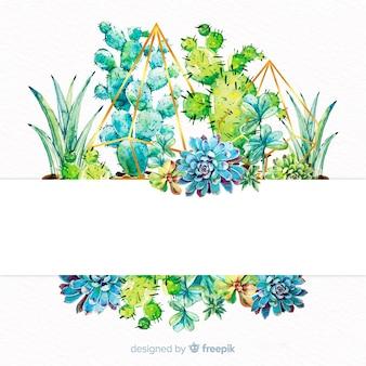 Акварельные баннеры кактуса с пустым баннером