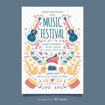 手描き音楽祭ポスターテンプレート