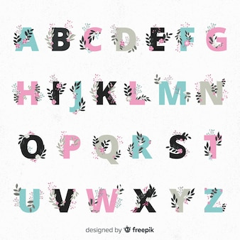 花と美しいアルファベット