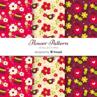 Коллекция плоских цветочных узоров
