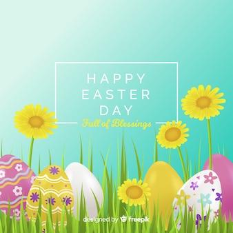 花のイースターの日の背景と飾られた卵