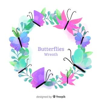 水彩蝶の花輪