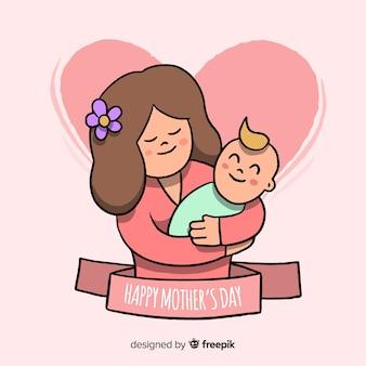 赤ちゃんの母親の日の背景を持つお母さん