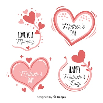 Ручной обращается сердца и цветы матери день коллекция значков
