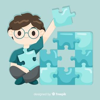 パズルのピースの背景を接続する男
