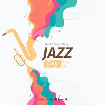 Плоский международный фон джазового дня