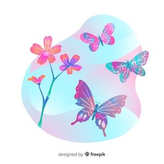 フラット蝶の背景を飛んで