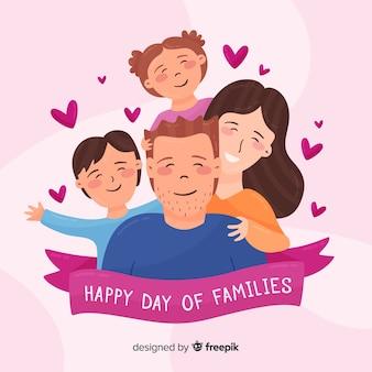 家族の背景の手描きの国際デー
