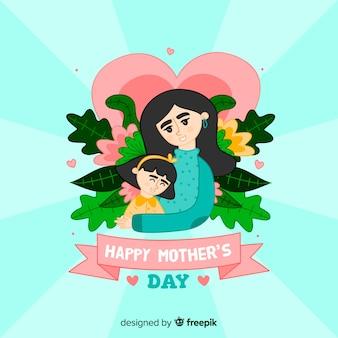 手描きの母と娘の母の日の背景