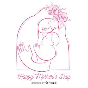 手描きの母親と赤ちゃんの母親の日の背景