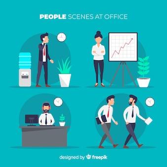 Люди в офисе устанавливают сцены