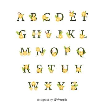 Плоский цветочный шаблон алфавита