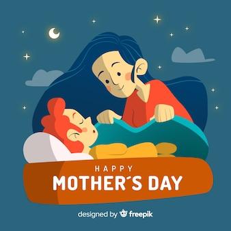 母は彼女の子供の世話をする母の日の背景