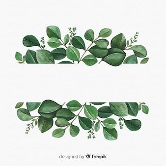 手描きのユーカリの葉の背景
