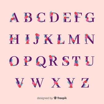 手描きの花のアルファベット