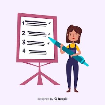 チェックリストの背景に取り組んでいる女性