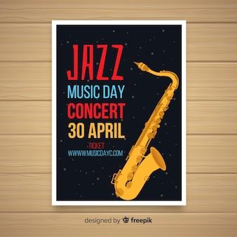 Шаблон плаката плоский международный день джаза