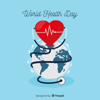 Плоский всемирный день здоровья фон
