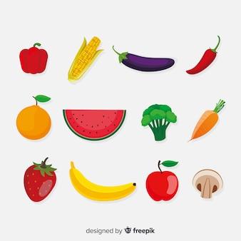 Плоский овощной и фруктовый фон