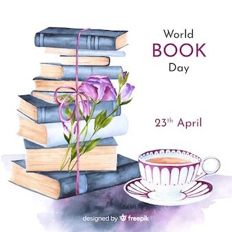 Акварельный мир книжного дня фон