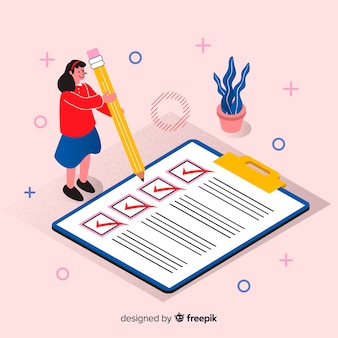 Женщина проверяя гигантский контрольный список