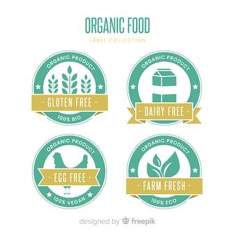 平らな有機食品のラベルコレクション