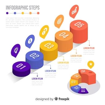 Изометрические красочные инфографики шаги коллекции