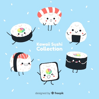 Коллекция рисованной каваи суши