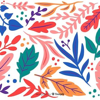 Красочные рисованной листья фон