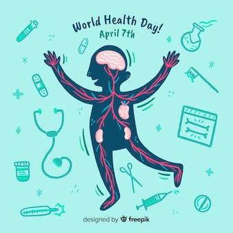 Ручной обращается всемирный день здоровья фон