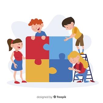 パズルのピースの背景を接続する子供たち