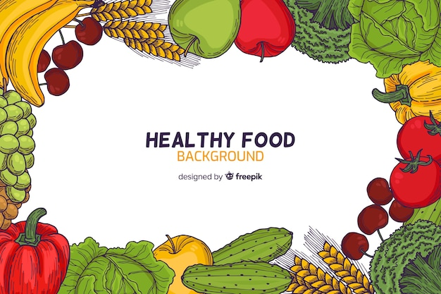 健康食品のフレームの背景