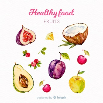 水彩の野菜や果物の背景