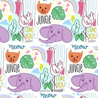 手描きの動物と言葉のパターン