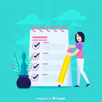 巨大なチェックリストをチェックする女性