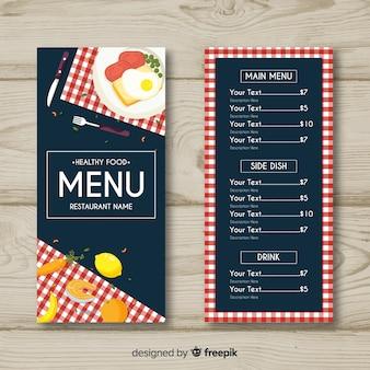 Плоский здоровый шаблон меню