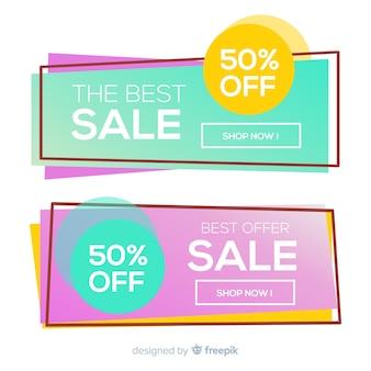 Красочный баннер продаж геометрических фигур
