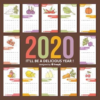 カラフルな季節の野菜や果物のカレンダー