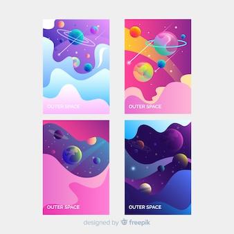 カラフルな手描きの宇宙バナー