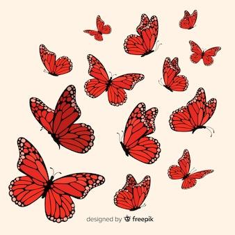 平らな蝶が飛んで