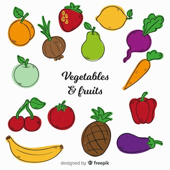 手描きの野菜や果物の背景