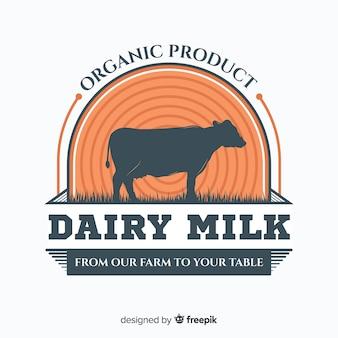 有機牛乳のロゴのテンプレート