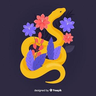 花の背景と蛇